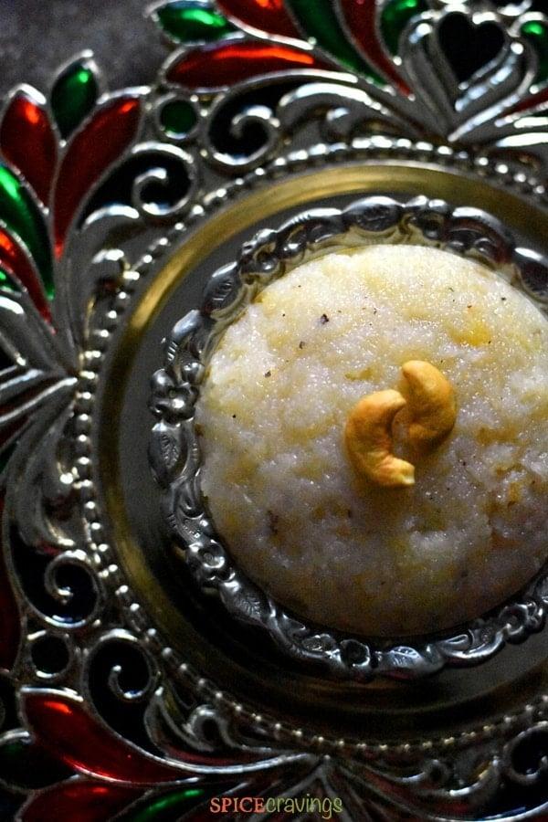 Semolina pudding called Sooji Sheera made in Instant Pot