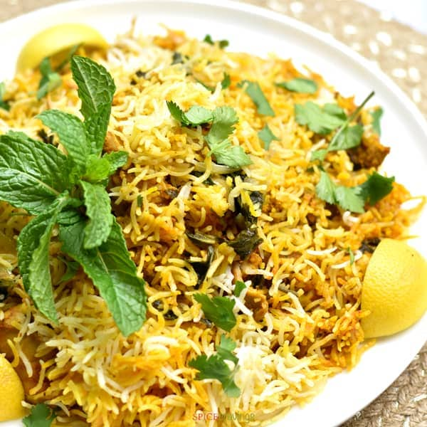 Close up of Instant Pot Chicken Biryani served on a plate