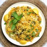 Top view of Instant pot Chicken Biryani