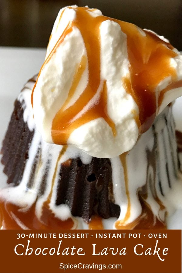 Instant Pot Chocolate lava cake served with whipped cream and caramel sauce
