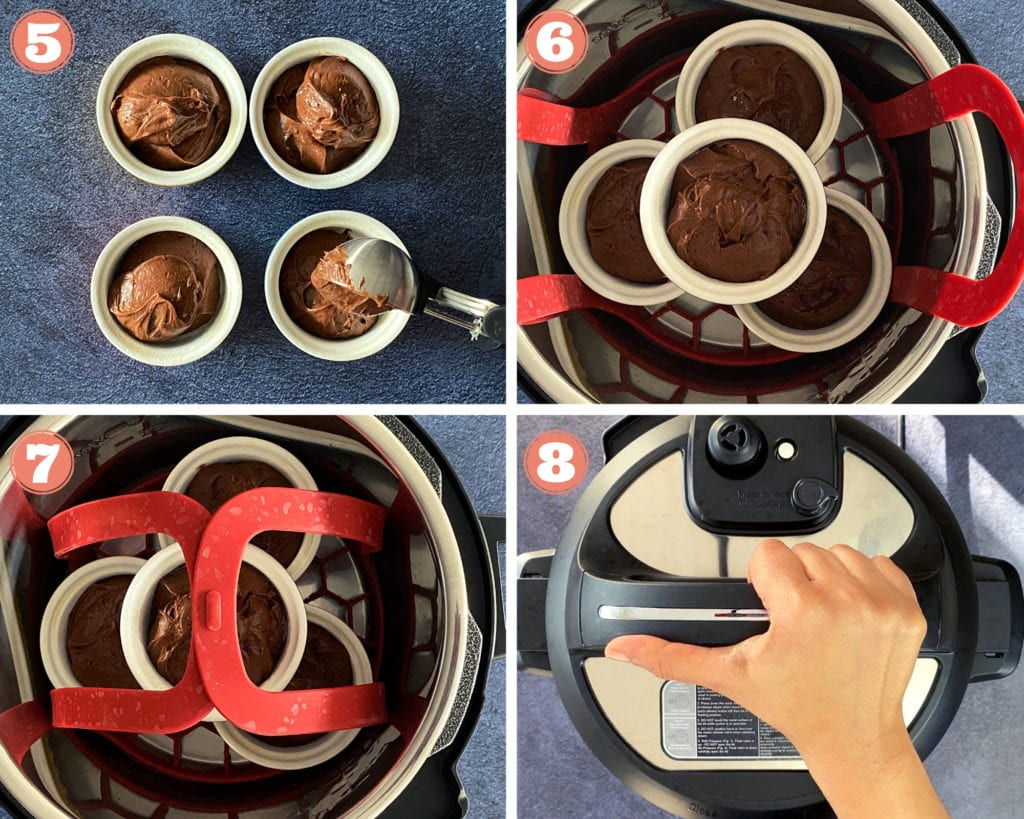 Steps showing how to cook lava cake in an Instant POt