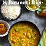 Indian Dal recipe with basmati rice on a grey background