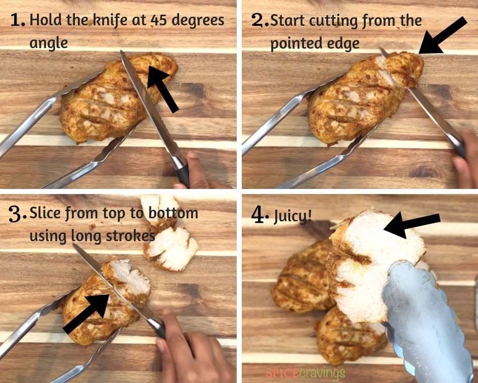 Pictures showing How to Slice Chicken Against the grain