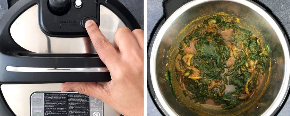 Instructions showing how to make Instant Pot Palak Paneer