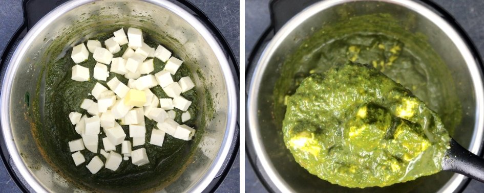 Adding paneer cubes to spinach curry to make Palak paneer curry