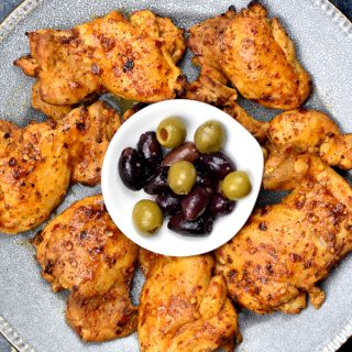 Mediterranean rubbed chicken served with assorted olives