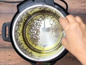 Adding cumin seeds to the melted ghee