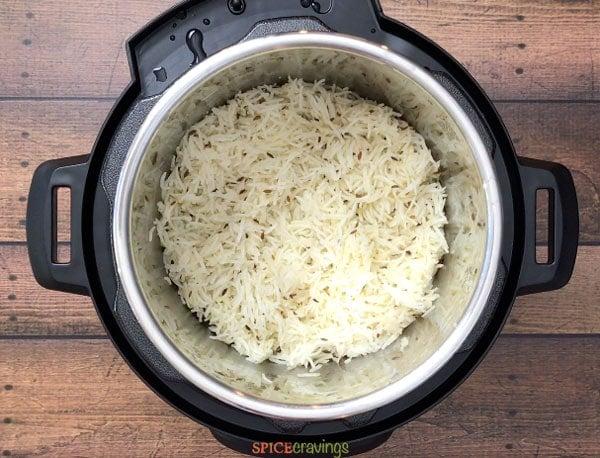 Cumin flavored basmati rice in the Instant Pot