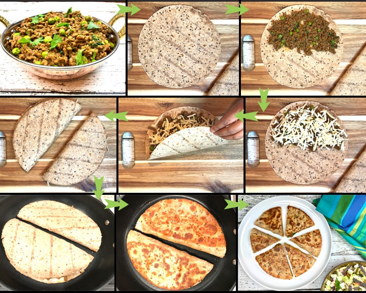 Keema Matar Quesadillas instant pot, by Spice Cravings. Keema Matar Quesadillas is grilled tortillas filled with cheese & minced meat (Keema) cooked with green peas seasoned with warm Indian spices (garam masala). #food #foodie #foodblogger #delicious #recipe #instantpot #recipes #easyrecipe #cuisine #30minutemeal #instagood #foodphotography #tasty #indian