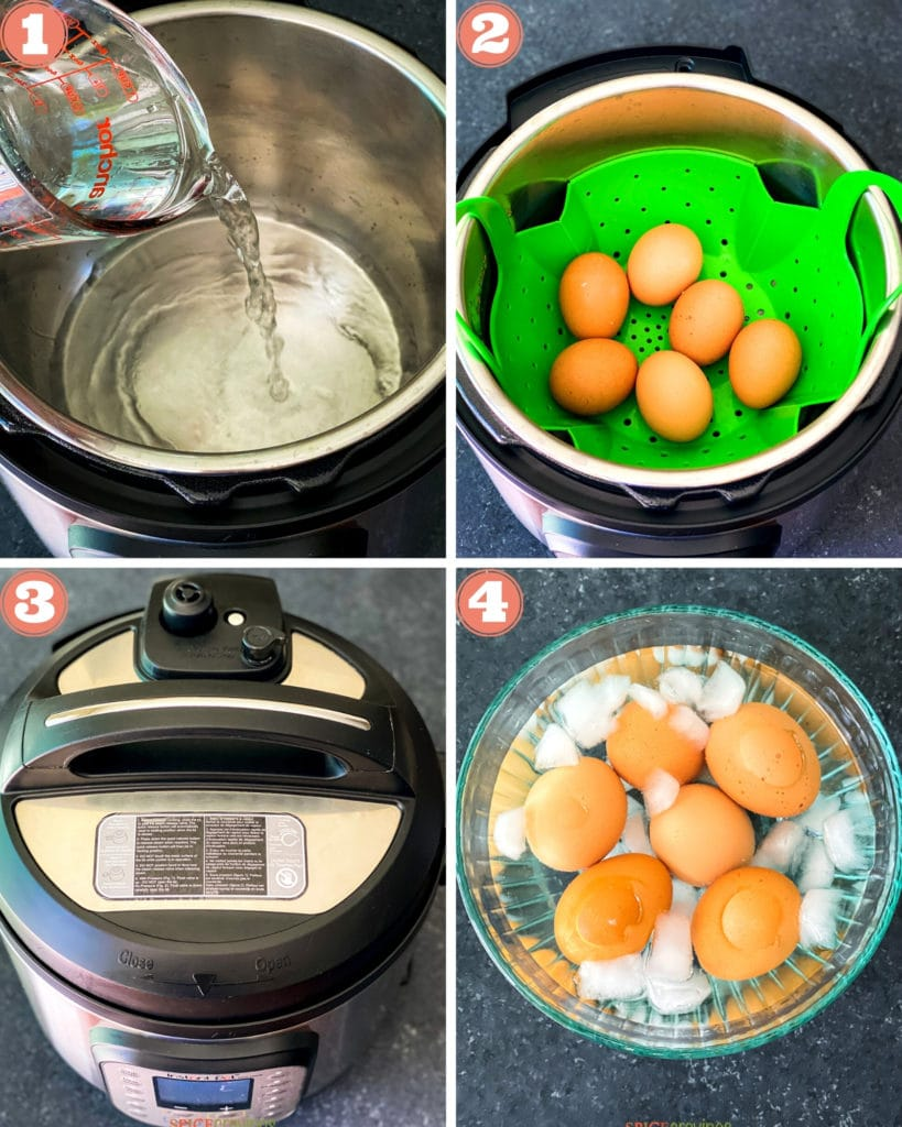4-step image grid showing how to make hard boiled eggs in Instant Pot