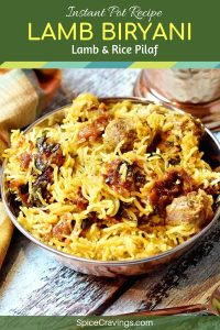 Indian rice and meat dish called Lamb Biryani, served in a copper bowl