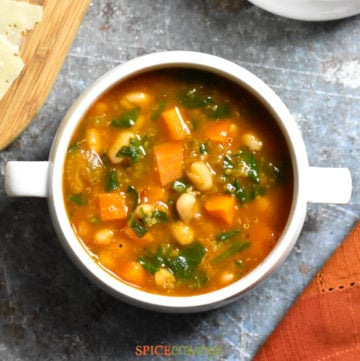 White bowl with Instant Pot Minestrone Soup