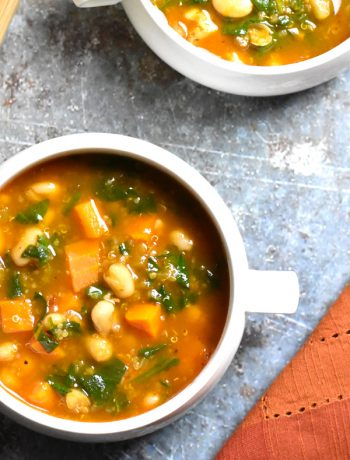 Two bowls is Instant Pot Minestrone Soup