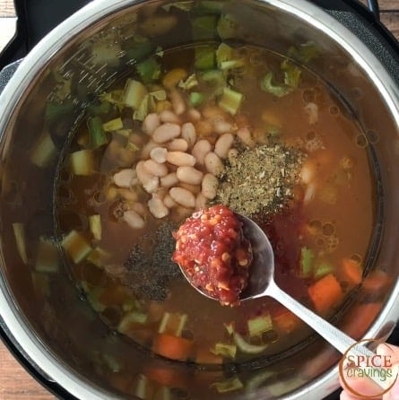 Adding chili garlic sauce to the Instant pot