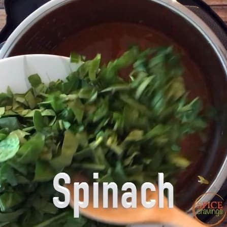 Adding chopped spinach to the Instant pot