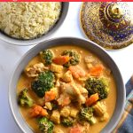 Thai Panang Curry chicken made in the instant Pot, served with brown rice