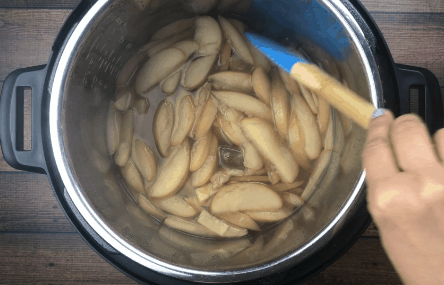 Apples after sauteeing in Instant Pot Spiced Apple Cider