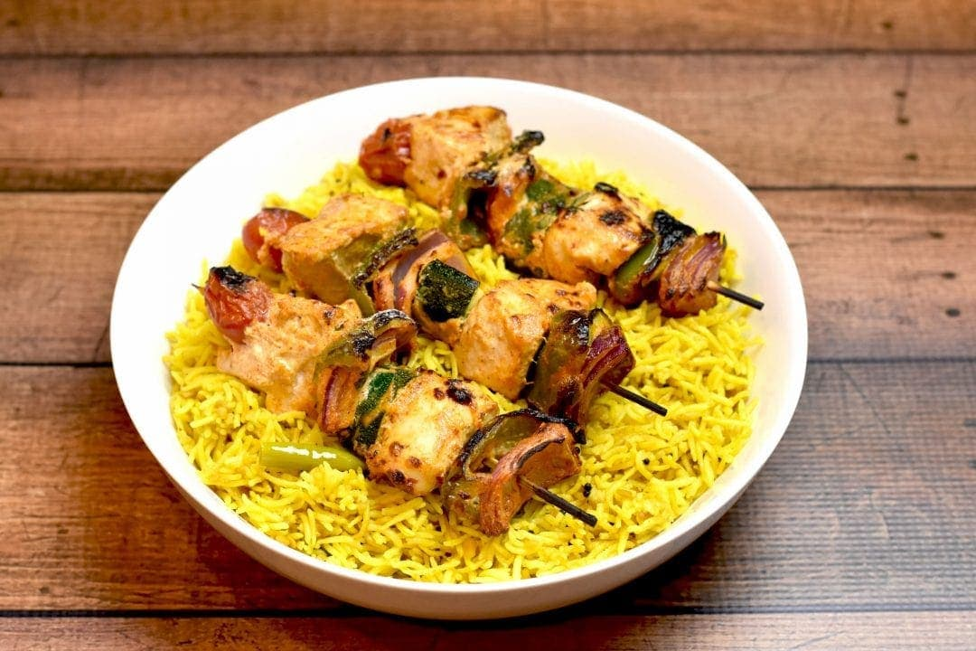 Chicken And Vegetable Skewers With Lemon Rice Spice Cravings