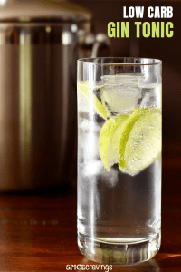 Low Carb Gin Tonic served with ice and lime slices