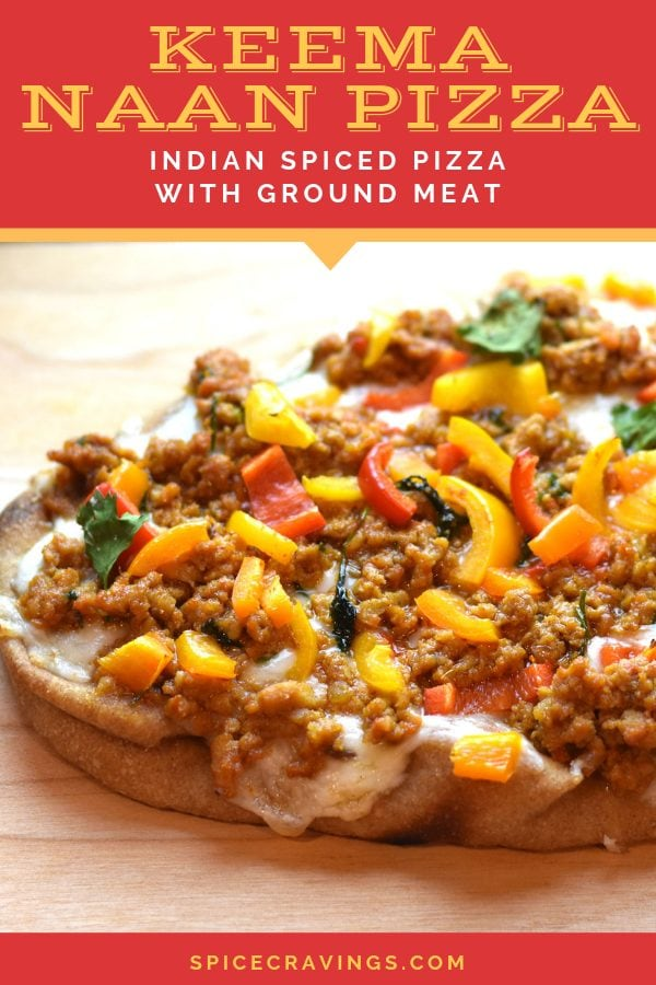 Oven toasted Naan Pizza with Indian spiced ground meat, served on a wooden plank