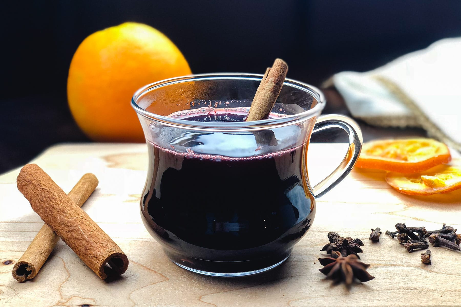 A cup of Mulled wine made in the Instant Pot