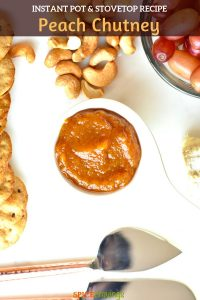 Peach Chutney served with nuts, grapes and cheese