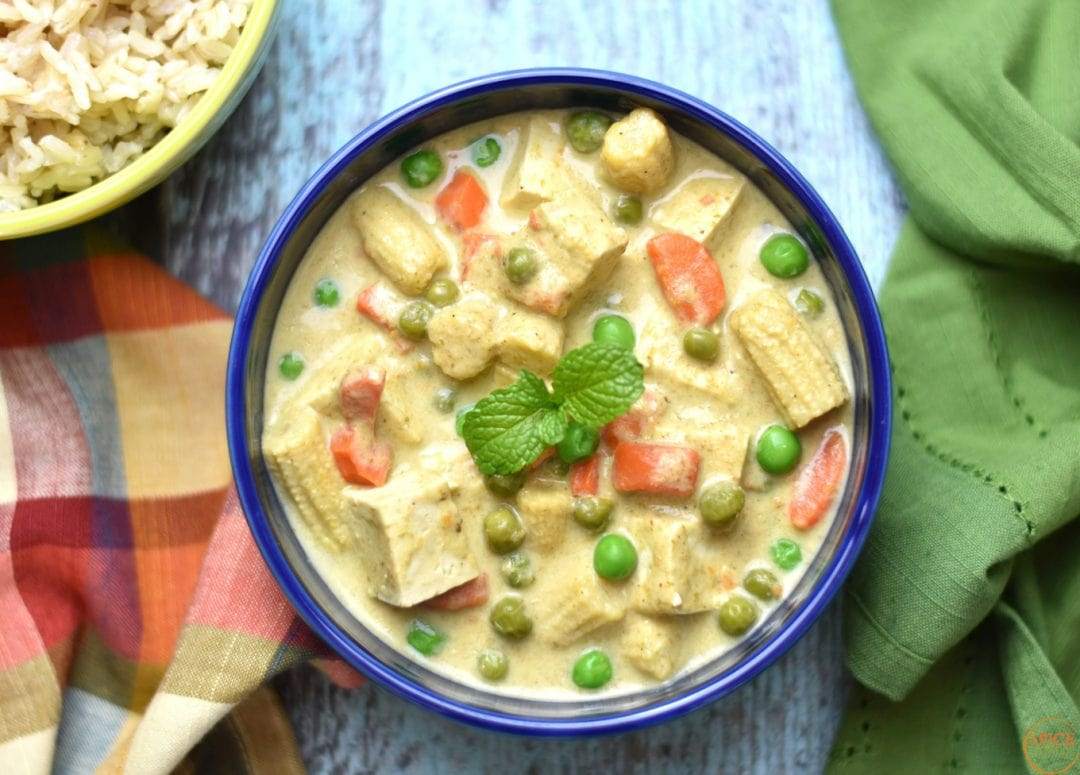 Thai Green Curry Tofu by Spice Cravings. Thai Green Curry with Tofu is made by cooking green curry paste with coconut milk. Thai curry paste includes many aromatics & dry spices like lemongrass. #food #foodie #foodblogger #delicious #recipe #instantpot #recipes #easyrecipe #cuisine #30minutemeal #instagood #foodphotography #tasty #curry
