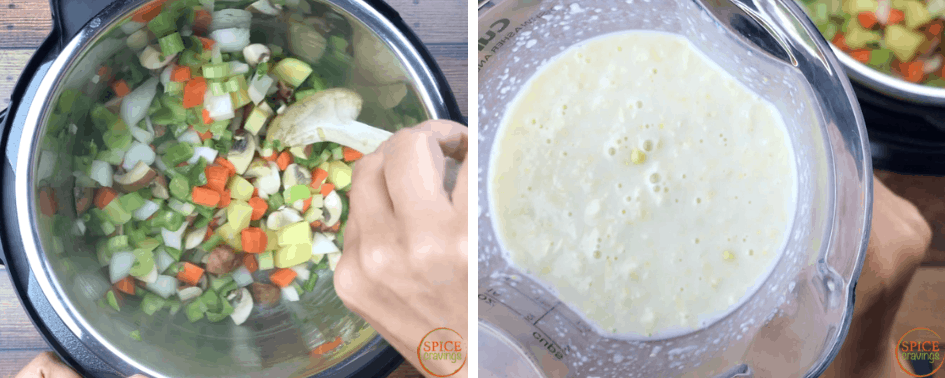 Sauteing vegetables and blending the corn with half and half