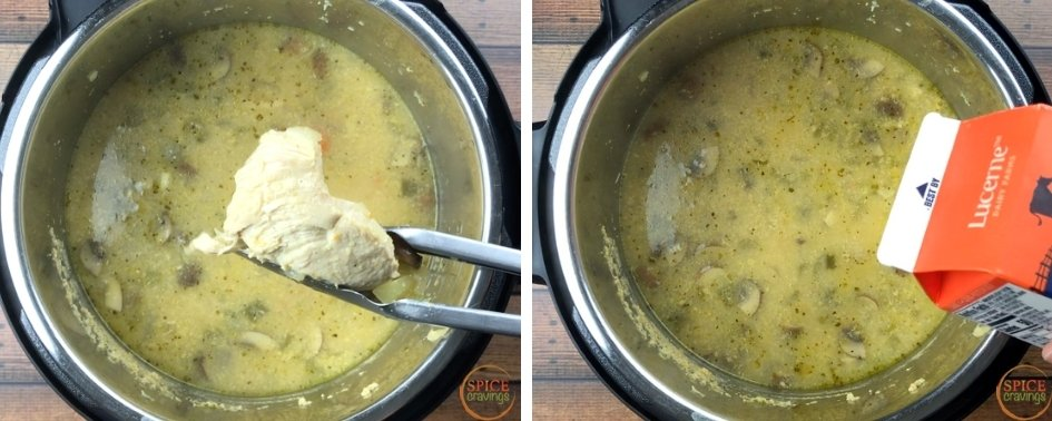 Removing chicken from the bowl and adding half and half to the Instant Pot