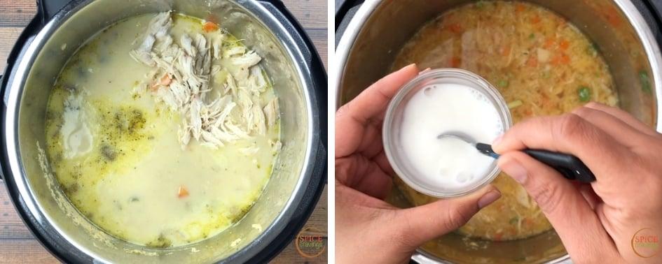 Adding shredded chicken and thickening the chowder with cornstarch slurry
