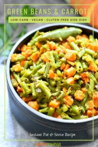 Green beans and carrots served with a garnish of sautéed green chili