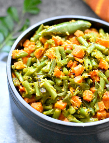 Green Beans and Carrot instant pot or stir fry by Spice Cravings. Crisp green beans and carrots sautéed with mustard seeds and coconut flakes, and seasoned with salt, coriander and cayenne. This super simple and amazingly easy vegetable side-dish is a great accompaniment to many entrée. #food #foodie #foodblogger #delicious #recipe #instantpot #recipes #easyrecipe #cuisine #30minutemeal #instagood #foodphotography #tasty