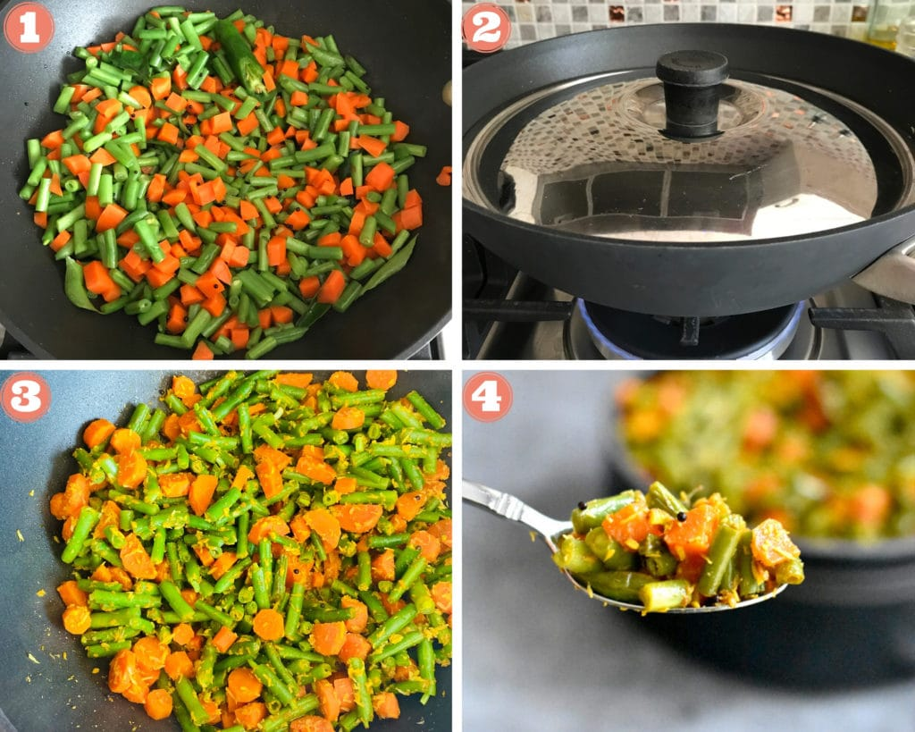 Steps showing how to make Green Beans Carrots on the stove