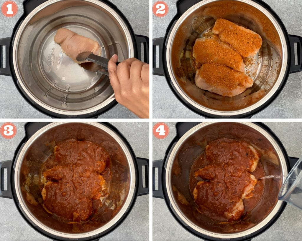 4 image grid showing how to add chicken in instant pot and season it