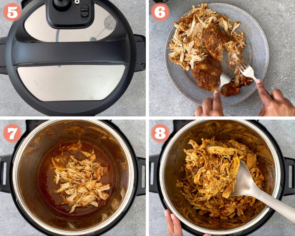 4-image grid showing how to pressure cook chicken with salsa in instant pot