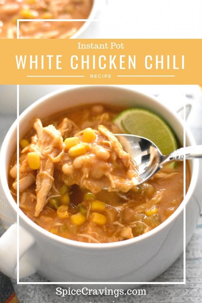 A spoonful of white chicken chili made in the Instant Pot pressure Cooker