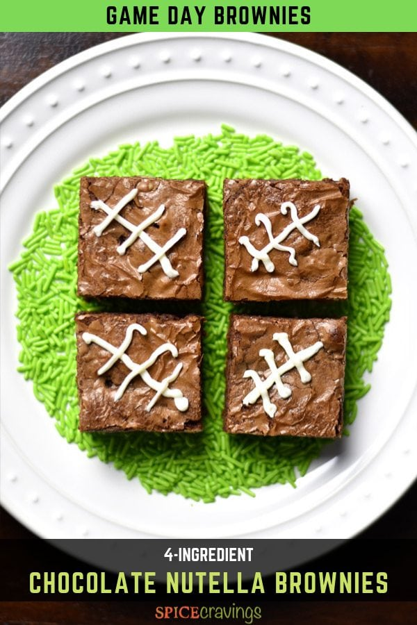 Chocolate nutella brownies decorated with a football symbol
