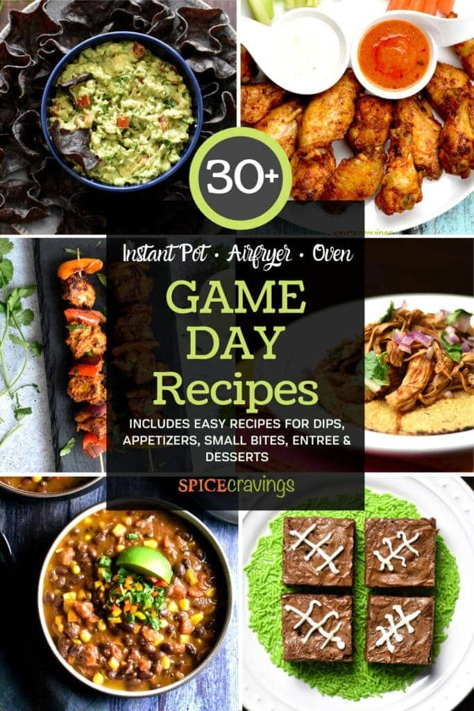 A collection of game day recipes including, wings, dips, chili and brownies