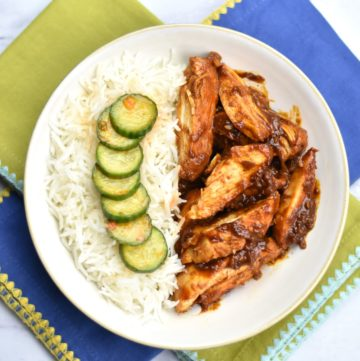 Chicken marinated Bulgogi-style, with Gochujang, ginger, garlic, honey, onion and gratedpear. Instant Pot Korean Spice Chicken is simple and delicious. #food #foodie #foodblogger #delicious #recipe #instantpot #recipes #easyrecipe #cuisine #30minutemeal #instagood #foodphotography #tasty #koreanfood #SpiceCravings