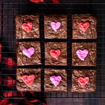 Easy recipe for chocolate brownies with heart shaped icing for valentine's day