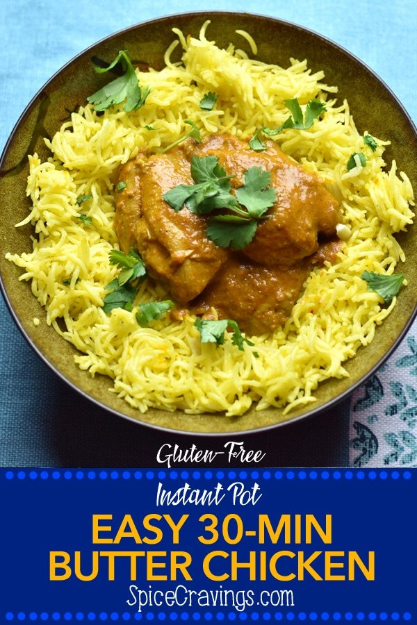 Indian Butter Chicken served over aromatic saffron Rice