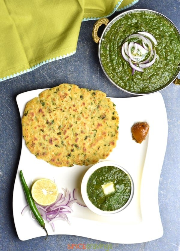 Top shot of Makki Ki Roti served with Sarson ka Saag