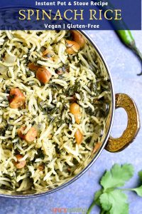 Indian Spinach Rice served in a copper bowl