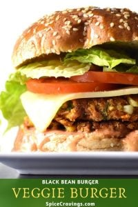 Veggie bean burger with tomato, lettuce and cheese