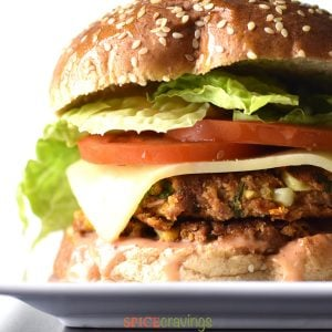 Juicy, spicy veggie bean burger on a plate