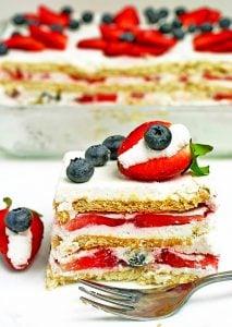 STRAWBERRY BLUEBERRY ICEBOX CAKE