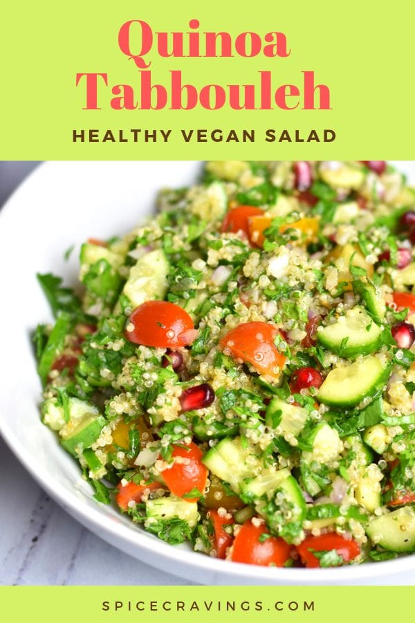 A gluten-free version of a healthy tabbouleh salad, made with quinoa.
