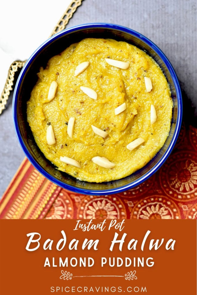 Indian Badam halwa (almond pudding) in a blue bowl