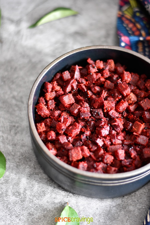 Beet Coconut Stir Fry (Beetroot Thoran) is a quick and easy stir-fry of chopped beets with grated coconut. I lightly season it with salt, turmeric and coriander, and finish it with a squeeze of fresh lime juice. This light and refreshing dish does full justice inhighlighting the sweet and earthy flavors of beets.#food #foodie #foodblogger #delicious #recipe #instantpot #recipes #easyrecipe #cuisine #30minutemeal #instagood #foodphotography #tasty #indian #coconut
