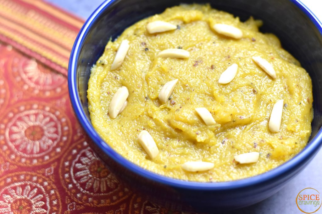 "Kesar Badam Halwa, Saffron Almond Pudding by Spice Cravings. Kesar Badam halwa, or Saffron Almond Pudding, is the undisputed ""king"" of Indian desserts. Made using just 5-6 simple ingredients, it is one of the most delicious and decadent desserts. I make it using almond flour, milk, butter or ghee (clarified butter), sugar, cardamom and saffron. #cooking #food #recipe #recipes #foodphotography #foodblogger #yummy #delicious #foodie #saffron #almond #fudge #halwa #indiancuisine #desserts"
